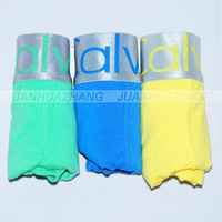 3pcs Mix Order Mens Underwear / cotton underwear / Good quality brands steel belt boxer shorts Multi-color Green Blue Yellow