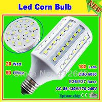 AC 110V 220V 20 Watt Led Corn Light Bulb_20W E26 E27 102 SMD 5050 LED Licht Strahler Lampe Degree 360 50 pcs/lot