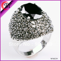 Free shipping fashion black zircon ring, red zircon ring with rhinestone for women(China (Mainland))