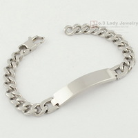 21.5cm, 9mm, Fashion Stainless Steel ID Bracelet Hand Chain Mens Jewellery 2013 New Arrivals, Wholesale&Free shipping,WB055