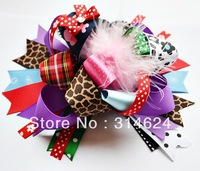 Big size girl hair bow,feather hair bow,with clip or headband,New Arrival,Free shipping
