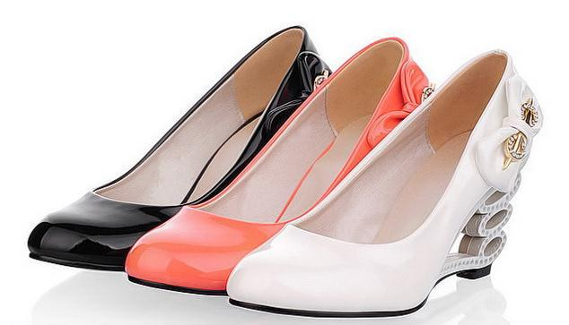 New, fashion, hollow out wedge, single shoes, sweet, bowknot,women shoes(China (Mainland))
