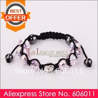 Min 10 piece/lot 2013 New Style Disco Ball Crystal Pink Shamballa Bracelet B179, Free Shipping