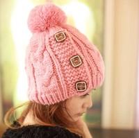 One Piece!New 2013 Winter Cap Women Warm Woolen Knitted Fashion Hats For Gilrs   Beanie Cap Woman Fur Cap Accessories