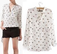 Lady Dog Print Pocket Long Sleeve V Neck Chiffon Shirt Button Blouse Top free shipping