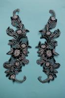 Silver Metallic Embroidery Lace Applique,Motif,Patch ,Size 31*16 cm ,Color black combined with silver ,12 pcs/lot