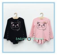 2015 new freeshipping cartoon cat girl dress long sleeve baby girl princess dress tail bow back suirs long tshirt  garment 5pcs