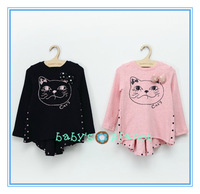 2014 new freeshipping cartoon cat girl dress long sleeve baby girl princess dress tail bow back suirs long tshirt  garment 5pcs