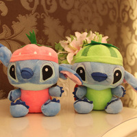 18 cm plush Stitch toy fruit figure(4 colors and designs), 7'' stuffed plush toy cartoon Lilo & Stitch for kids' toys, 4 pcs/set