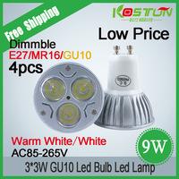 4X  GU10 CREE  LED Light 9W 3x3W Dimmable High Power Spotlight LED Bulb Lamps lamp Free Shipping