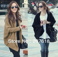 Women plus size sweaters batwing sleeve cloak cardigan sweater Lady Poncho cape coat overcoat