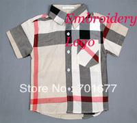 kids clothes, baby wear, children clothing, british style plaid short sleeve shirt 5#121501