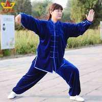 winter South Korea Thickening pleuche tai Chi uniform martial art uniform set keep warm for men and women