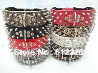 2inch Wide Spiked Studded Dog Collars Leather Pitbull Mastiff Terrier Bulldog Collars Size 20'' 22'' 24'' 26'' Free Shipping