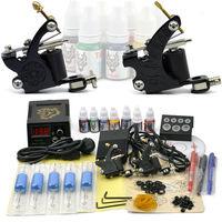 Tattoo Kit 2 Machine Gun Power Supply Foot Pedal Needles Grip Tip FREE shipping TO USA  by DHL