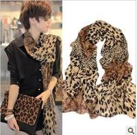 6pcs/lot 2014 Hot Selling! Fashion Ladie's Chiffon leopard Scarf Factory Supply Wholesale WJ036