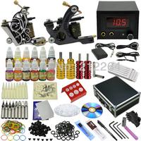 complete tattoo kit 2 Machines Guns Equipment Inks needles Set Tatoo supplies FREE SHIPPING DHL