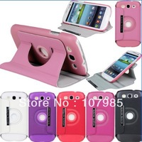 360 Rotating Stand Leather Case Folio Cover For Samsung Galaxy S3 SIII i9300 Free Shipping