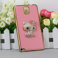 Free Shipping Genuine Luxury Black Litchi Rind Leather Rhinestone Metal Cute Hello Kitty Case for Samsung Galaxy Note 3 N9000