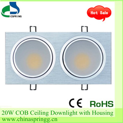 2013 Hot Sale Aluminum Alloy material,New arrival 2*10W COB LED Downlight with square housing,Warm White/Cool White(China (Mainland))