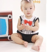 3pcs/lot Summer Gentleman Baby boys one-piece romper 2 colors free shipping