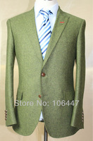 Free Shipping guaranteed 100% high quality itlay green tweed desinger suit casual men leisure suits