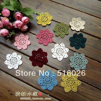 "2.75"" handmade crochet flower applique headband flowers scrapbooking sewing trim boutique handcraft, 12color 100pcs/lot"