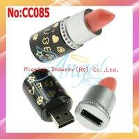Free shipping wholesale usb flash drive lipstick shape 1GB 2GB 4GB 8GB16GB 32GB 64GB usb memory stick pen drive #CC085