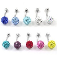 body piercing, belly piercing,stainless steel, with crystal, can choose many color