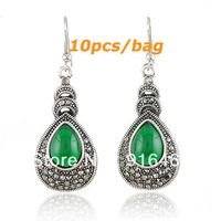 wholesale Europe and USA restore ancient ways imitation Thai silver drop gemstone earrings  free shipping RuYiEH016