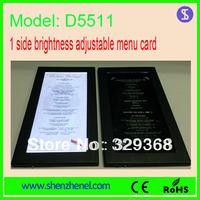 Model D5511 Fashion illuminated led lighted menu cards, brightnss adjustable