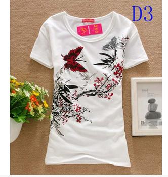 Hot New 2014 Fashion Good Quality Cotton T Shirt Women Tops Round Neck Heart T-shirts Much money