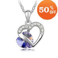 holiday sale 18K white gold plated austrian crystal rhinestone heart necklace pendant fashion women jewelry k111