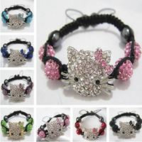 Gifts!Wholesale 10pcs/lot Fashion Jewelry Handmade Hello Kitty Woman Bracelets Crystal Shamballa Beads Bracelets Bangles Cheap