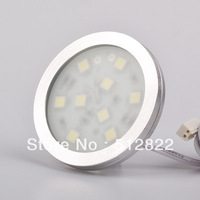 Free Shipping LED Aluminum Puck Light For Cabinet  12v 1.8W  9pcs of SMD5050 White Warm White