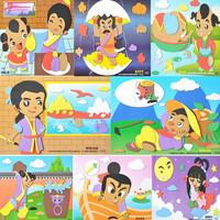 New 8 Styles Fable Story Kids 3D EVA Handmake Puzzles DIY Children Sticker 3D Art three-dimensional Painting