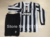 best quality 2013-2014 Juventus home long sleeve soccer jersey & shorts, juventus football shirt equipment kits 13 14
