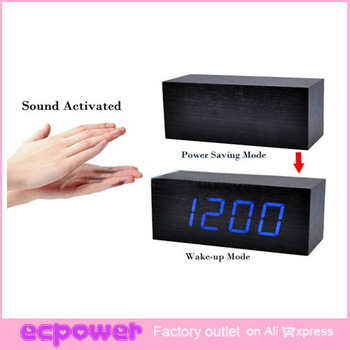 LED Maple Wooden Wood USB/AAA Digital Desktop Timer Alarm Clock VOICE Sound Activated Clock freeshipping