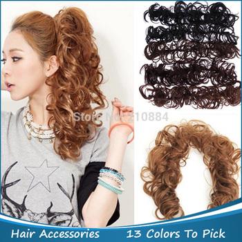 Free Shipping Elastic Hair Ties Rope Hair Accessories Fashion Hair Bun Wig Ponytail Holder Headbands For Women 2Pcs