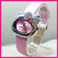 Wholesale free shipping 20PCS/LOT 6colors  lovely crystal  bowknot  hello kitty watches leather strap