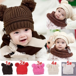 Lovely Winter Warm Earmuffs Hat Baby Double Ball Monochromatic/Beanies for Baby