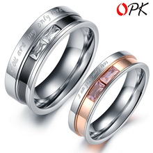 OPK JEWELRY Box Packing Stainless Steel Crystal Couple Ring Romantic Men and Women s Wedding Ring
