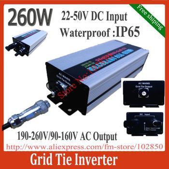 Free shipping Waterproof 22-50V DC input,260W on grid solar power micro-inverter, Grid Tie Micro-Inverter IP65