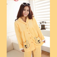 Winter Women's Cute Cartoon Bear Pajamas Set Thick Coral Fleece Long-Sleeve Sleepwear Girl's Warm Nightgown