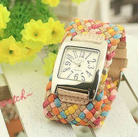 Hot Korea Rope Watch Woven Leather Band Watch Ladies Knit Rainbow Bracelet Watches W004 Free shipping