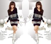 5pcs/lot Fashion Women's Girl Button V Neck Long Sleeves Knit Sweater Dress Stripe Black, Purple Free shipping 7794