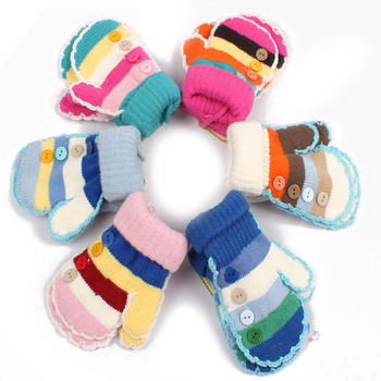Gloves for Kids,Striped, Knitted ,Buttons Decoration, Warm for Winter,Free Shipping, PSM030