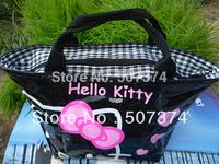 Black Handbag PURSE Pink bow Hello kitty lunch bag