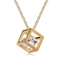 Min Order $10 Clear Crystal Jewelry 18K Gold Square Pendant Necklace 2MN006 Magi Jewelry