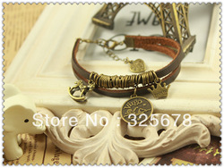 Bracelet hand ring double layer genuine leather vintage handmade wooden horse constellation bracelet(China (Mainland))